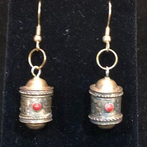 Tibetan Earrings Brass with a touch of Coral